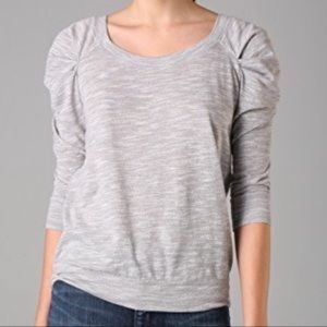 Free People Gray Puff Sleeve Top